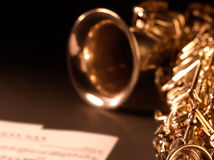 Saxophone jazz music instrument. Sax close up  on dark background Closeup detail of saxophone alto Stock Images