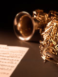 Saxophone jazz music instrument. Sax close up  on dark background Closeup detail of saxophone alto Royalty Free Stock Photography