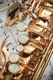 Saxophone keys closeup Royalty Free Stock Photos