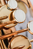 Saxophone keys closeup Stock Images