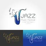 Saxophone logo vector symbol Royalty Free Stock Photos