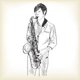 Saxophone man showing free hand drawing sketch stock illustration