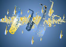 Saxophone migration - blue Royalty Free Stock Photo