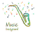 Saxophone music background with notes Royalty Free Stock Image