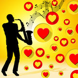 Saxophone Music Indicates Valentine Day And Acoustic Royalty Free Stock Image