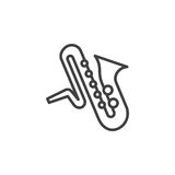 Saxophone music instrument line icon, outline vector sign, linear pictogram isolated on white. Royalty Free Stock Image