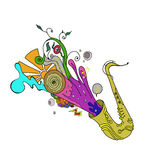 Saxophone music jazz concept. Sketch , doodle, pattern with notes and treble clef, digital draw, isolated on white ground Stock Photos