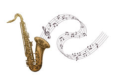 Saxophone music, jazz vector illustration Stock Photography