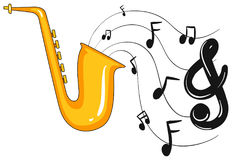 Saxophone with music notes in background Stock Photography