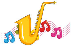 Saxophone with music notes in background Royalty Free Stock Photos