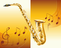 Saxophone with music notes in background Stock Images