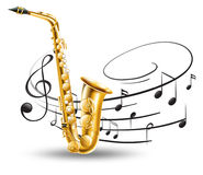 Saxophone with music notes in background Stock Photos