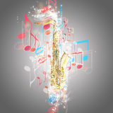 Saxophone and music notes Stock Photo