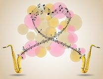 Saxophone and music notes on poster Royalty Free Stock Image