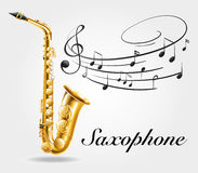 Saxophone and music notes on poster Royalty Free Stock Photography
