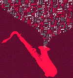 Saxophone music notes splash Royalty Free Stock Photography