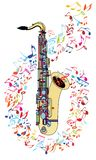Saxophone and musical notes royalty free stock photo