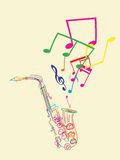Saxophone with musical notes Royalty Free Stock Image