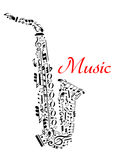 Saxophone with musical notes Royalty Free Stock Images