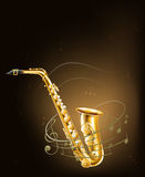 A saxophone with musical notes Royalty Free Stock Photos