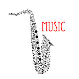 Saxophone with musical notes for music design Royalty Free Stock Photo