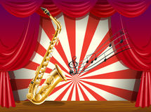 A saxophone and the musical notes at the stage Royalty Free Stock Images