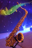 Saxophone with note signs. Royalty Free Stock Images