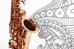 Closeup for a shiny saxophone royalty free stock photography