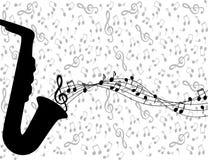 Saxophone and notes Stock Photos