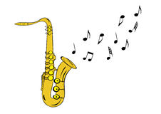 Saxophone with notes Royalty Free Stock Photos