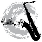 Saxophone with notes Stock Images