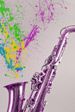 Saxophone Paint Splatters Stock Photos
