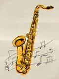 Saxophone Painting Image. Music background Royalty Free Stock Image