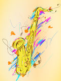Saxophone Painting Vector Art. Digital art Royalty Free Stock Images