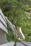 Saxophone Park Bench Stock Photo