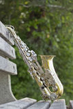 Saxophone Park Bench Royalty Free Stock Photography