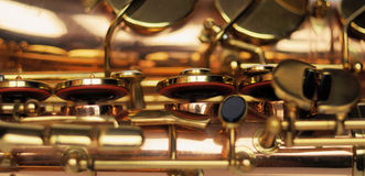 Saxophone. Part of saxophone close-up Royalty Free Stock Photo