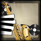 Saxophone and piano keys in the form of fingers Royalty Free Stock Image