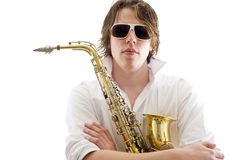 The saxophone player Stock Image