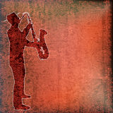 Saxophone Player. Over vintage paper background royalty free illustration