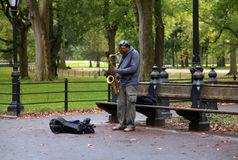 Saxophone Player. NEW YORK CITY - OCTOBER 9: A saxaphonist busking in Central Park's Bethesda Terrace, a popular tourist attraction October 9, 2012 in New York Royalty Free Stock Photography