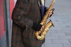 Saxophone Player Busking in Edinburgh royalty free stock images