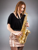 Saxophone player closeup Stock Photography
