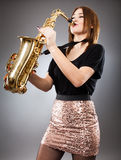 Saxophone player closeup Royalty Free Stock Photo