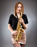 Saxophone player closeup Royalty Free Stock Photography