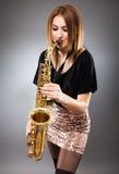 Saxophone player closeup Stock Image
