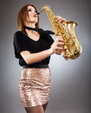 Saxophone player closeup Stock Photos