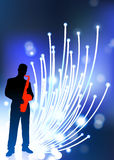 Saxophone player on fiber optic background. 