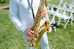 Saxophone player jazz music instrument Saxophonist Royalty Free Stock Photography