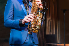 Saxophone player jazz music instrument Saxophonist Royalty Free Stock Photos